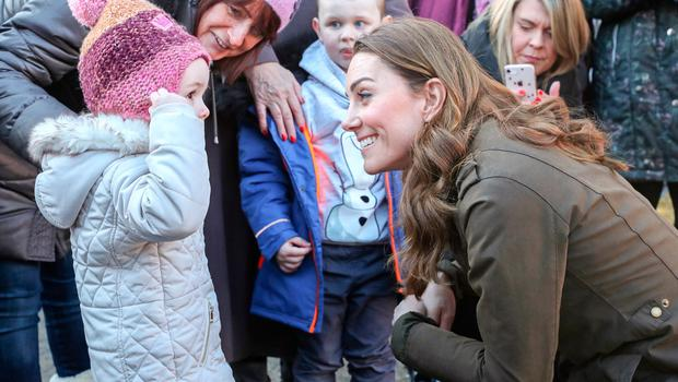NEWTOWNARDS, NORTHERN IRELAND - FEBRUARY 12: Catherine, Duchess of Cambridge meets with children from two local nurseries during a visit to The Ark Open Farm on February 12, 2020 in Newtownards, Northern Ireland. This visit is part of her Early Years Foundation Survey. Five Big Questions, aiming to spark a UK-wide conversation on early childhood. (Photo by Chris Jackson/Getty Images)