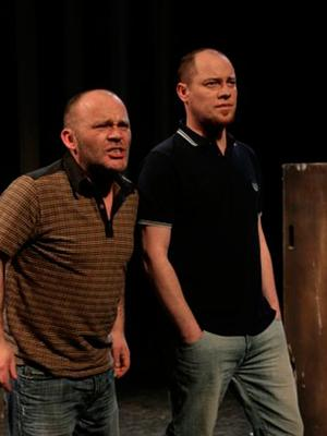 On stage: Marc and Chris Corrigan in Martin Lynch's Chronicles of Long Kesh
