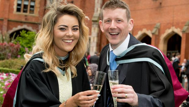 Graduating today from the School of Social Sciences, Education and Social Work at Queen's University Belfast are Aisling Finnegan and Sean McShane.