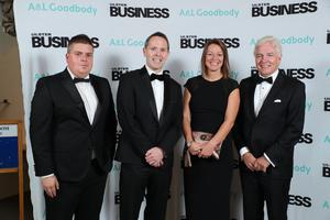 Ulster Business editor ohn Mulgrew, Michael Neill, head of Belfast office at A&L Goodbody with Sarah Little, publishing director INM NI with Len O'Hagan
