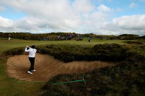 Spain's Sergio Garcia plays from the bunker on the 12th during day two of the Dubai Duty Free Irish Open at Royal County Down Golf Club, Newcastle. PRESS ASSOCIATION Photo. Picture date: Friday May 29, 2015. See PA story GOLF Irish. Photo credit should read: Brian Lawless/PA Wire. RESTRICTIONS: Editorial use only. No commercial use. No false commercial association. No video emulation. No manipulation of images.