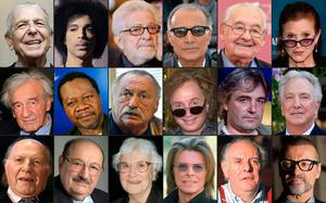 Public figures who passed away in 2016: (L to R, top to bottom) Canadian singer Leonard Cohen, US singer Prince, Italian film director Ettore Scola, Iranian film director Abbas Kiarostami, Polish film director Andrzej Wajda, Auschwitz survivor and Nobel Laureate Elie Wiesel, Congolese singer Papa Wemba, US writer Jim Harrison,, US film director Michael Cimino, Polish film director Andrzej Zulawski, Hungarian writer and literature Nobel prize Imre Kertesz, Italian writer Umberto Eco, US writer Harper Lee, British singer David Bowie and Italian writer and actor Dario Fo, US actress Carrie Fisher, British actor Alan Rickman, and British singer George Michael. Photo: AFP/Getty Images