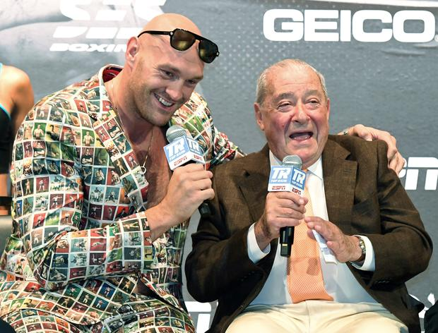 Relaxed mood: Tyson Fury and Bob Arum