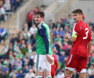 Pacemaker Belfast 27-5-16 Northern Ireland v Belarus - International Friendly Northern Ireland's Kyle Lafferty and Belarus Alyaksandr Martynovich (Captain) during tonight's game at Windsor Park, Belfast.  Photo by David Maginnis/Pacemaker Press
