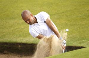 PressEye Belfast - Northern Ireland - 5th July 2017  Pep Guardiola plays out of the bunker on the 4th during the Pro-Am at the Dubai Duty Free Irish Open Golf Championship at Portstewart Golf Club. Picture by Peter Morrison/PressEye.com   Picture by Peter Morrison/PressEye.com