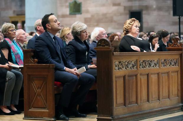Irish Taoiseach Leo Varadkar, Prime Minister Theresa May and Irish President Michael D Higgins pictured at he funeral and service of thanksgiving for the life of  journalist Lyra McKee at St AnneÄôs Cathedral, Donegall Street, Belfast.  Lyra McKee was murdered in Creggan in Derry on Thursday 18th April.  Photo by Kelvin Boyes / Press Eye.