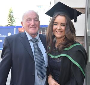 Ulster University Graduations-Waterfront Hall 03-07-15 Carla Murray who graduated in Accountancy with Grandfather Pat Allison. Photo by Simon Graham/Harrison Photography
