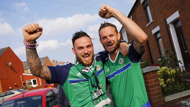 Picture - Kevin Scott / Presseye  Belfast , UK - May 27, Pictured is Northern Irelands Andy and  Micky Longstaff from Crumlin in action during the last home game before heading to the Euros on May 27 2016 in Belfast , Northern Ireland ( Photo by Kevin Scott / Presseye)