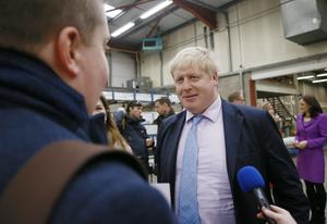 Boris Johnson at Boomer Industries in Lisburn on February 29. Pic Kevin Scott