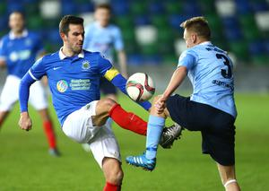 Press Eye - Belfast -  Northern Ireland - 12th January 2016 - Photo by William Cherry  Linfield's Andrew Waterworth with Ballymena's Stephen McBride during Tuesday's County Antrim Shield final at Windsor Park, Belfast.