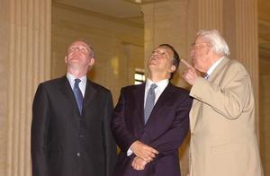 PACEMAKER PRESS INTL 1-05-2007:President of the European Commission  Jose Manuel Barroso pictured meeting Northern Irelands First and Deputy First Ministers the Rev Ian Paisley,MP,MLA and Mr Martin McGuinness MP, MLA at the steps of Parliament Buildings in Belfast. PICTURE BY: ARTHUR ALLISON.