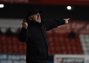 PACEMAKER PRESS  BELFAST 02/12/2020 Glentoran v Larne ToalsBet.Com Co Antrim Shield Final.  Glentoran Manager Mick McDermott   during this evening's game at Seaview  in Belfast. Pic Colm Lenaghan/Pacemaker