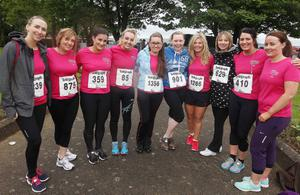 Northern Ireland- 23rd May 2014 Mandatory Credit - Photo-Jonathan Porter/Presseye.  Belfast Telegraph RunHer 10k coastal challenge from Seapark to Crawfordsburn.  Carla Bowyer and her Industrial Temps team pictured at Seapark  before the race.