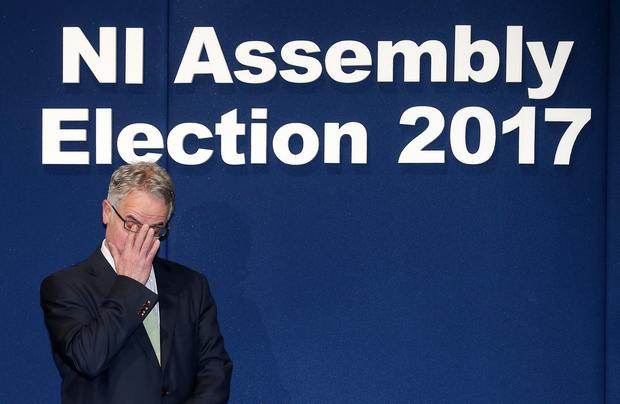 NI Assembly Election 2017 Count at Titanic Exhibition Centre in Belfast for Belfast East,  Belfast North, Belfast South and Belfast West constituencies. Belfast west successful candidates are officially announced.  The SDLP's Alex Attwood, who was elected, pictured on the declaration podium after the successful candidates were officially elected.  Photo by Jonathan Porter / Press Eye.