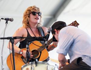 INDIO, CA - APRIL 13:  Musicians Cary Ann Hearst and Michael Trent of Shovels and Rope perform onstage during day 2 of the 2013 Coachella Valley Music And Arts Festival at The Empire Polo Club on April 13, 2013 in Indio, California.  (Photo by Karl Walter/Getty Images for Coachella)