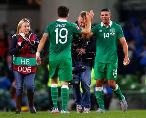 DUBLIN, IRELAND - SEPTEMBER 07:  Winning goalscorer Jonathan Walters of the Republic of Ireland celebrates with Robbie Brady after the UEFA EURO 2016 Group D qualifying match between Republic of Ireland and Georgia at Aviva Stadium on September 7, 2015 in Dublin, Ireland.  (Photo by Ian Walton/Getty Images)