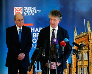 Jonathan Powell and Senator George Mitchell (left) at an event to mark the 20th anniversary of the Good Friday Agreement, at Queen's University in Belfast. PRESS ASSOCIATION Photo. Picture date: Tuesday April 10, 2018. See PA story ULSTER GoodFriday. Photo credit should read: Brian Lawless/PA Wire