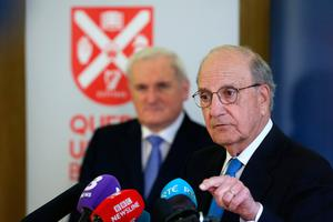 Former taoiseach Bertie Ahern and Senator George Mitchell (right) at an event to mark the 20th anniversary of the Good Friday Agreement, at Queen's University in Belfast. PRESS ASSOCIATION Photo. Picture date: Tuesday April 10, 2018. See PA story ULSTER GoodFriday. Photo credit should read: Brian Lawless/PA Wire