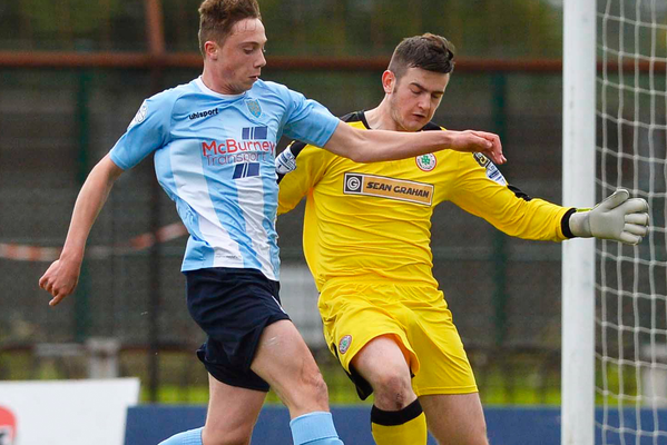 Key moment: Cliftonville keeper Peter Burke saw red for this challenge on Matthew Shevlin