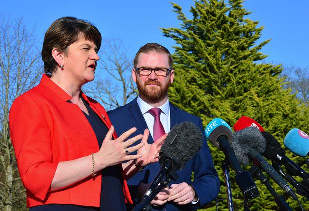 DUP Leader Arlene Foster and Simon Hamilton pictured at Sormont Castle in Belfast.  Picture By: Arthur Allison - Pacemaker Press Belfast 08-03-2017
