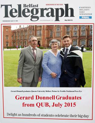 Mandatory Credit - Picture by Freddie Parkinson/Press Eye ? Wednesday 8th July 2015 Graduations Queen University Belfast. Gerard Donnell from Newry graduated at Queens University Belfast in Film Studies.