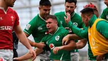 Ireland's full-back Jordan Larmour celebrates his early try
