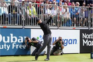 Rory McIlroy hits his opening tee-shot at the Irish Open Pro Am on Wednesday.