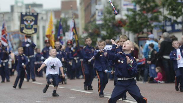 PACEMAKER BELFAST  13/07/2015 Young Bands men during  The 12th of July Parades Belfast City on Monday  to commemorate protestant King William of Orange's victory over Catholic King James II at the Battle of the Boyne in 1690. Photo Colm Lenaghan/Pacemaker Press