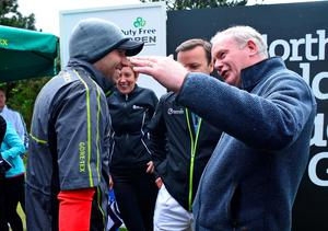 NEWCASTLE, NORTHERN IRELAND - MAY 27 : Deputy First Minister Martin McGuinness (R), meets Sergio Garcia of Spain on the 1st tee during the afternoon Pro-Am during the Irish Open Previews at Royal County Down Golf Club on May 27, 2015 in Newcastle, United Kingdom. (Photo by Mark Runnacles/Getty Images)