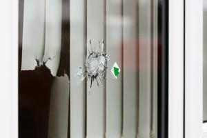 A window was hit in the Rossdowney Drive attack. Photo by Lorcan Doherty/Press Eye