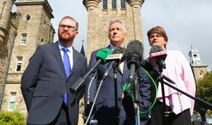 Picture - Kevin Scott / Belfast Telegraph   Friday 18th September 2015, Belfast , Northern Ireland - DUP Stormont  Pictured is the DUP members, Simon Hamilton, Peter Robinson and Arlene Foster as they give a statement outside Stormont Castle   Picture - Kevin Scott / Belfast Telegraph