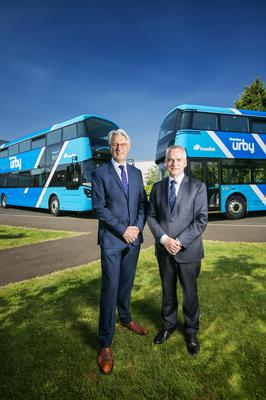 Translink is set to take delivery of 28 new high specification Ulsterbus Double Deck buses this Summer from Wrights Group. Representing an investment of around £6.7million, the new buses will see the launch of the exciting new Urby brand, operating on key commuter routes between outlying towns including park and ride routes and Belfast. They will have a modern and striking new-look livery and come with a range of enhanced on board customer features for an even better journey experience. Pictured in front of the new vehicles are Mark Nodder, Wrights Group Chairman and Chief Executive and Chris Conway, Translink Group Chief Executive. Picture by Brian Morrison.