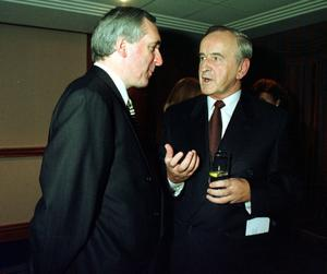 File Pics Albert Reynolds Has Died. FIANNA FAIL TD BERTIE AHERN(L) AND FIANNA FAIL TD ALBERT REYNOLDS AT A PARTY FUNCTION. PIC PHOTOCALL IRELAND