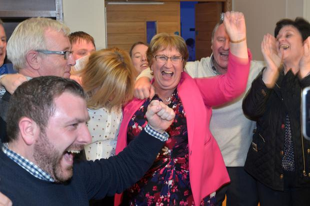 Press Eye - Belfast - Northern Ireland - 3 March 2017 - NI Assembly Election 2017 Count at Banbridge Leisure Centre for Newry & Armagh and Upper Bann constituencies. Dolores Kelly of the SDLP celebrates after being elected. Photo by Tony Hendron / Press Eye.