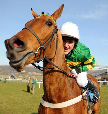 CHELTENHAM 16-3-2010. BINOCULAR and Tony (AP) McCoy after they won The Champion Hurdle for trainer Nicky Henderson. Photo HEALY RACING.