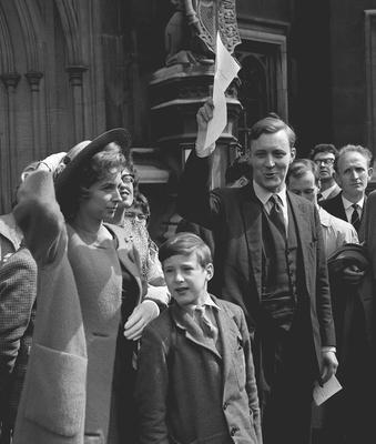 File photo dated 08/05/61 of Tony Benn holding up his certificate of election, with his wife Caroline and son Stephen, nine. The veteran politician died at home today at the age of 88, his family said in a statement.PRESS ASSOCIATION Photo. Issue date: Friday March 14, 2014. See PA story DEATH Benn. Photo credit should read: PA/PA Wire