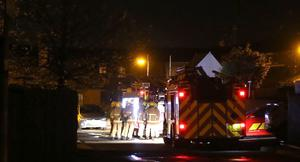 NIFRS and PSNI at the scene of a Petrol Bomb attack on a property at Alfred street Place in Ballymena. PICTURE MATTHEW STEELE/MCAULEY MULTIMEDIA