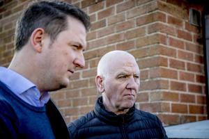 John and Martin Finucane at the scene of a failed bomb attack in the Lenadoon area of west Belfast on February 20th 2020 (Photo by Kevin Scott for Belfast Telegraph)