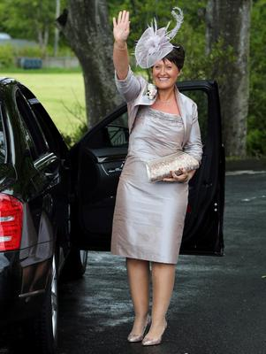 Diane McConnell, mother of the bride, Helen McConnell, arrives for her wedding to Manchester United footballer Jonny Evans as at Clough Presbyterian Church, County Down. PRESS ASSOCIATION Photo. Picture date: Saturday June 1, 2013. See PA story SOCIAL Evans. Photo credit should read: Paul Faith/PA Wire