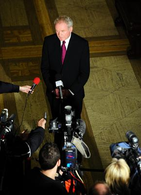 Pacemaker press 1//5/14 Deputy first minister Martin McGuinness speaks to the media regarding the detention of the Sinn  Fein leader Gerry Adams.  Mr Adams is being questioned by the PSNI regarding the murder of Jean McConville in 1972. Picture Mark Marlow/pacemaker press