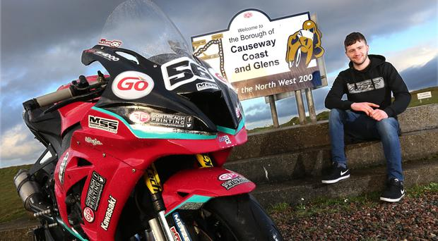 Rising star: Adam McLean with the McAdoo Kawasaki ZX10RR he will race at next month's North West 200