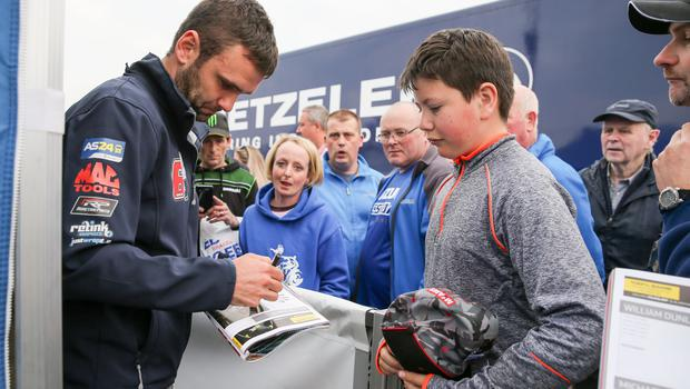 PressEye - Belfast - Northern Ireland - 12th May 2017  Vauxhall International North West 200  Pictured: William Dunlop with fans.  Picture: Philip Magowan / PressEye