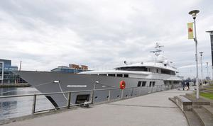 Yacht docked outside the SSE arena in Belfast on July 07, 2016 ( Photo by Kevin Scott / Belfast Telegraph)