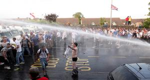 12.07.13. PICTURE BY DAVID FITZGERALD Riots kick off at Woodvale as the parades are not allowed to pass Ardoyne.