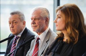 West Ham co-owner David Gold, pictured centre with co-owner David Sullivan and vice-chair Karren Brady, has acknowledged mistakes have been made