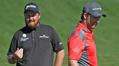 Good friends: Shane Lowry and Padraig Harrington could find themselves in the thick of the Ryder Cup battle next year