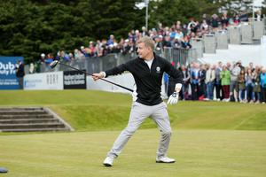 Press Eye - Belfast - Northern Ireland - 27th May 2015? Dubai Duty Free Irish Open at Royal County Down Pro-Am Comedian Patrick Kielty on the 1st tee. Picture by Kelvin Boyes / Press Eye?