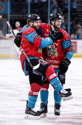 Ice cool: Belfast Giants ace Blair Riley celebrates scoring last night