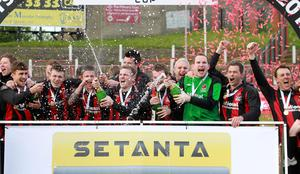 All-Ireland kings: Crusaders celebrate their Setanta Cup success in 2012 after beating Derry City in the final