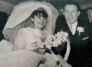 Arty and Isobel Vallely on their wedding day